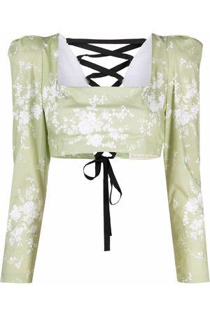 ULYANA SERGEENKO Damen Blusen - Cropped-Bluse mit Blumen-Print