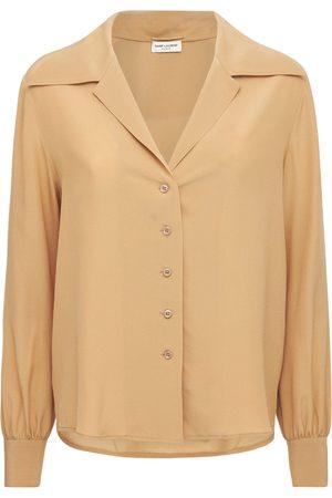 Saint Laurent Damen Blusen - Hemd Aus Seiden-crepe De Chine Mit V-ausschnitt