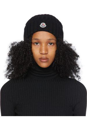 Moncler Damen Mützen - Black Wool Rib Knit Logo Beanie