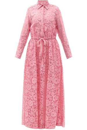 Valentino Drawstring-waist Floral-lace Shirt Gown