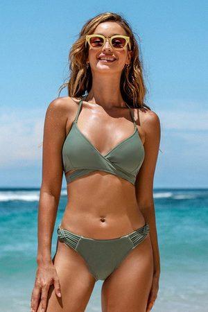 CUPSHE Damen Bikinis - Bikini-Set mit Riemchen in Grün
