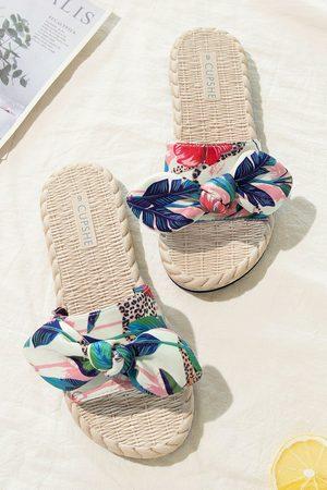 CUPSHE Damen Clogs & Pantoletten - Frühlingshafte Pantoletten mit tropischer Schleife