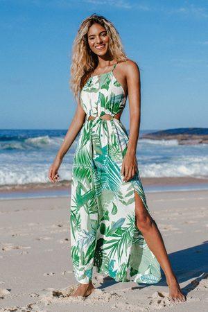 CUPSHE Damen Strandkleider - Bodenlanges Kleid mit Blattmuster und Ausschnitt