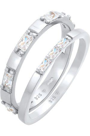 Elli Damen Ringe - Ring Bandring, Rechteck