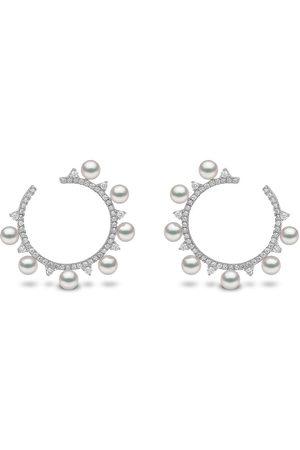 Yoko London Damen Ohrringe - 18kt Sleek Weißgoldcreolen mit Akoya-Perlen und Diamanten