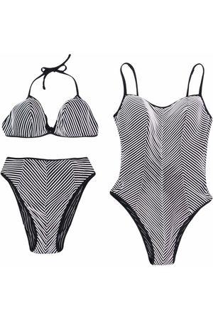 Gianfranco Ferré 1990s Set aus gestreiftem Badeanzug und Bikini