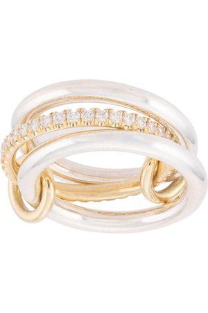 SPINELLI KILCOLLIN 18kt Libra Gelbgold- und Sterlingsilberring mit Diamanten