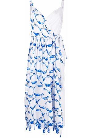Rosie Assoulin Asymmetrisches Wickelkleid mit Print