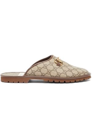 Gucci Horsebit Gg-canvas Backless Loafers