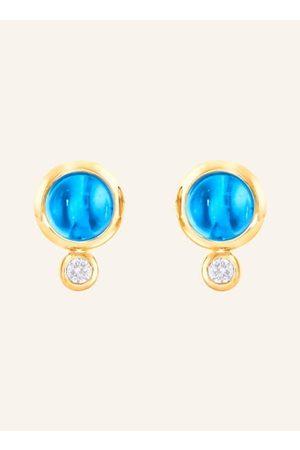 TAMARA COMOLLI Topas Cabochons in Kombination mit Diamanten lassen diesen BOUTON Ohrring zu einem Lieblingsstück werden. Keck lassen sich die Diamanten nach oben oder unten zeigend tragen. Die Passform ist perfekt und täglich tragbar. 18 Karat Gelbgold. D