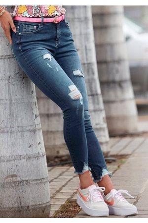 Buffalo Damen Cropped - Destroyed-Jeans mit ausgefranstem Beinabschluss