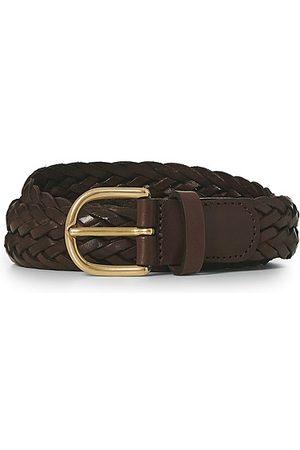 Anderson's Woven Leather Belt 3 cm Dark Brown