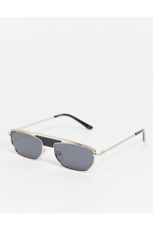 Jeepers Peepers – Goldfarbene, eckige Unisex-Sonnenbrille aus Metall