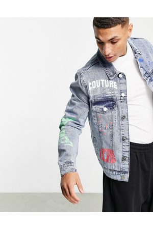 The Couture Club – Jeansjacke mit neonfarbenen Graffiti-Details in