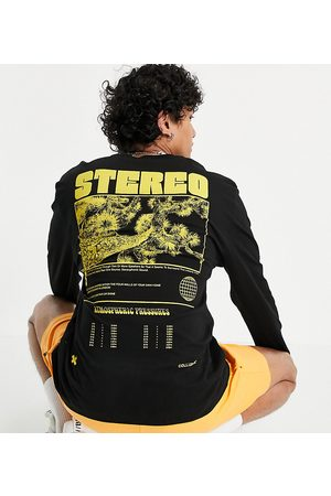 """COLLUSION – Langärmliges Shirt in Anthrazit mit """"Stereo""""-Print"""