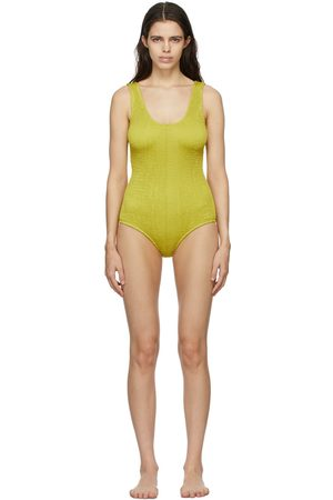 Bottega Veneta Yellow Crinkled One-Piece Swimsuit