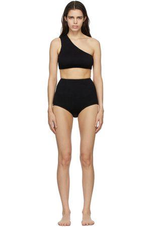 Bottega Veneta Damen Bikinis - Black Crinkle One Shoulder Bikini