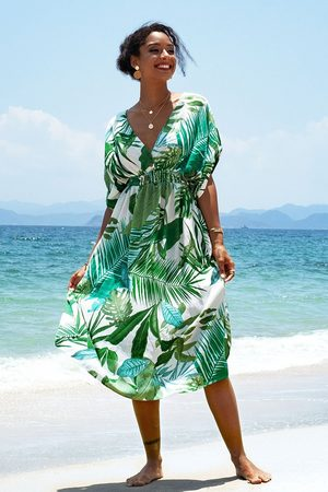 CUPSHE Damen Strandkleider - Tropisches Kleid mit V-Ausschnitt