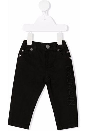 Balmain Kids Logo-detail skinny-cut trousers