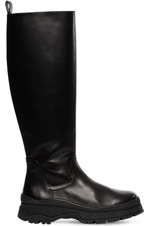 Staud Damen Stiefel - 35mm Bow Leather Tall Boots