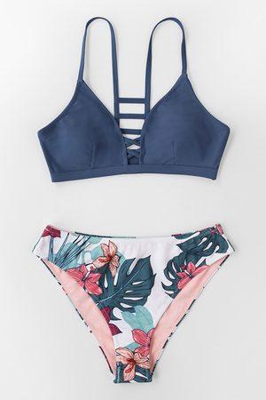 CUPSHE Marine und Floral Riemchen Bikini Set