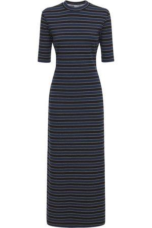 SUNNEI Striped Cotton Blend Jersey Midi Dress