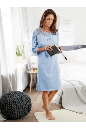 Avena Damen Blusen - Damen Nachthemd Spitzen-Detail Hellblau