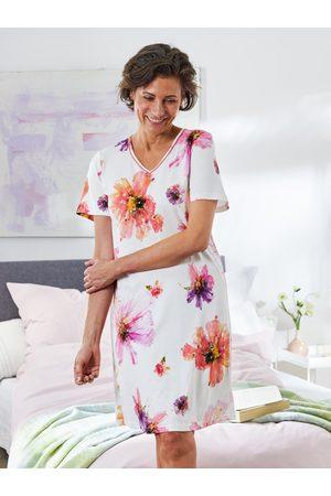 Avena Damen Blusen - Damen Nachthemd Sommerblüte Weiss
