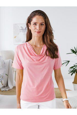 Avena Damen Poloshirts - Damen Shirt Wasserfall-Ausschnitt Lyocell Rose