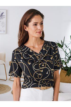 Avena Damen Poloshirts - Damen Shirt Wasserfall-Ausschnitt Lyocell