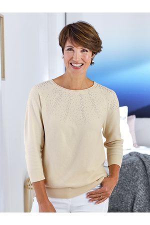 Avena Damen Strickpullover - Damen Leicht-Pullover Punktausschnitt