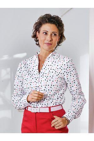 Avena Damen Bügelfrei-Bluse Kelchkragen Weiss