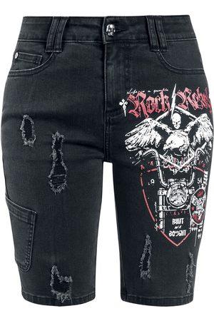 Rock Rebel Damen Shorts - Schwarze Jeansshorts mit Print und Destroyed-Effekten Short
