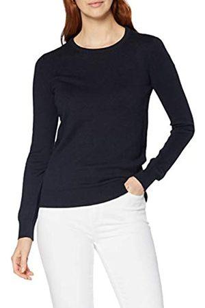 MERAKI Amazon-Marke: Baumwoll-Pullover Damen mit Rundhals, Blau (Navy), 44