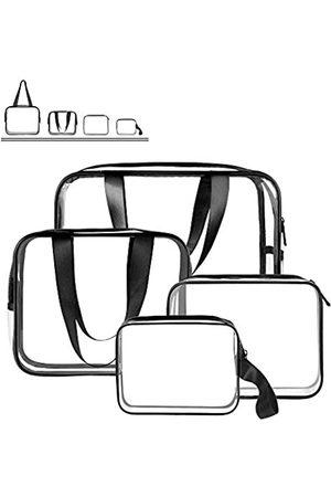 Sariok Herren Reisetaschen - 4-in-1 Kulturbeutel-Set, TSA genehmigt, tragbar, Reise-Kosmetiktasche, Make-up-Tasche mit Reißverschluss, Tragegriff, für Damen, Herren, Kinder, wasserdicht