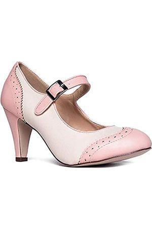 J. Adams Mary Jane Oxford Pumps – Niedliche Niedrige Kitten Heels – Retro Runde Zehen Schuh mit Knöchelriemen – Kym, Pink ( Creme PU)