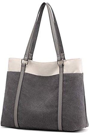 Wxnow Laptop-Tragetasche für Damen, aus Segeltuch, Schultertasche, (C-light Grey)