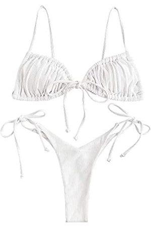 Zaful Damen Bikini, gerippt, O-Ring, String-Bikini