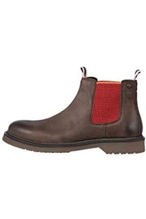 JACK & JONES Herren Chelsea Boots - Male Stiefel Kontrastdetail Chelsea 44Brown Stone