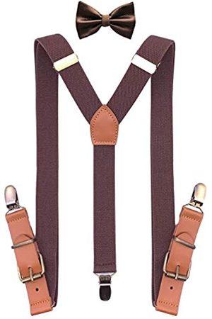 QCWQMYL Bronze Drehhaken Hosenträger Fliege Set für Herren Smoking Hosenträger Leder - - Einheitsgröße