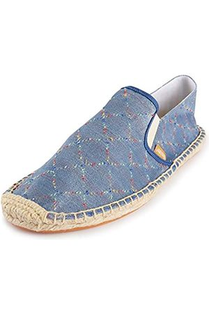 ALEXIS Herren Halbschuhe - Men's Closed Toe Checked Canvas Braided Rope Espadrilles Shoes Blue 9-9.5 US