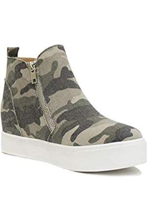 Soda Taylor Damen Sneakers, Nubuk, hohe Höhe, Schlupfschuhe, modische Sneakers, Gr�n (L-kha Camo)