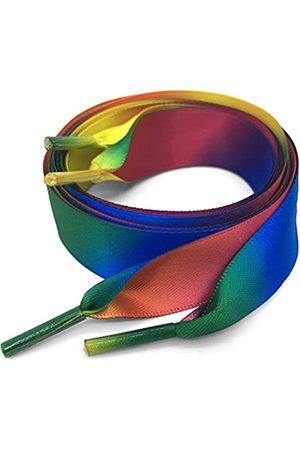 DANHUA Flache bunte Schnürsenkel, Farbverlauf, Regenbogen-Schnürsenkel, Schuhring, 2 Paar, (14 Seidenverlauf Regenbogen)
