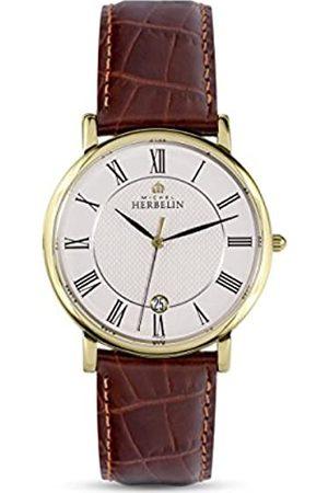 Michel Herbelin Herren Analog Quarz Uhr mit Rindleder Armband 12248/P08MA