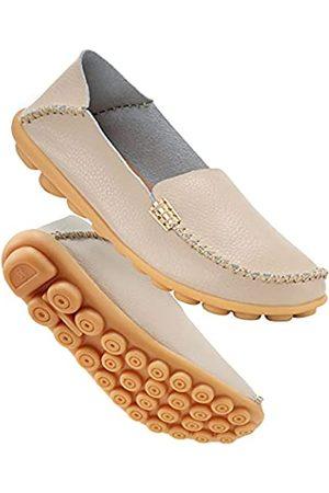 DUOYANGJIASHA Damen Outdoorschuhe - Bequeme Damen-Schlupfschuhe aus Leder mit rundem Zehenbereich, Mokassins, flache Schuhe, weiche Wanderschuhe für Frauen zum Reinschlüpfen