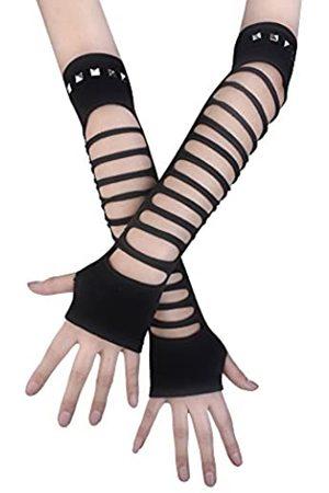 JISEN Fingerlose Handschuhe, Punk, zerrissener Strick