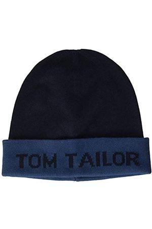 TOM TAILOR Herren Jacquard Wording Beanie-Mütze, 10378-Dark Denim Blue
