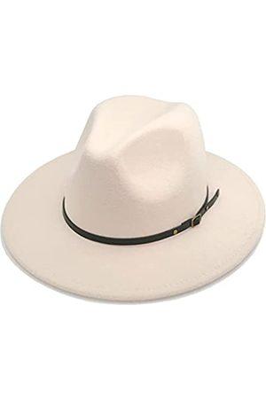 HUDANHUWEI Damen Hüte - Damen Klassische breite Krempe Fedora Hut mit Gürtelschnalle Filz Panama Hut - - Einheitsgröße