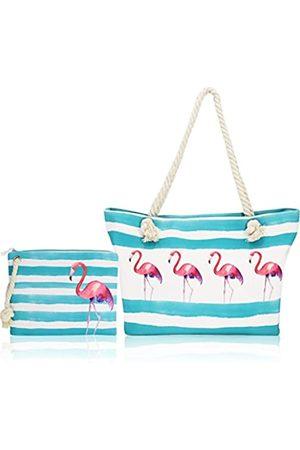 SY-Athena Damen Reisetaschen - Strandtasche / Strandtasche / Strandtasche, aus Segeltuch, groß, Reißverschluss oben, Pink (Flamingo)