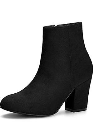 Allegra K Damen Stiefeletten - Damen Round Toe Reißverschluss Blockabsatz Ankle Boots Stiefel 42